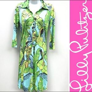 Lilly Pulitzer Tropical Green Palm Tree Dress Sz14